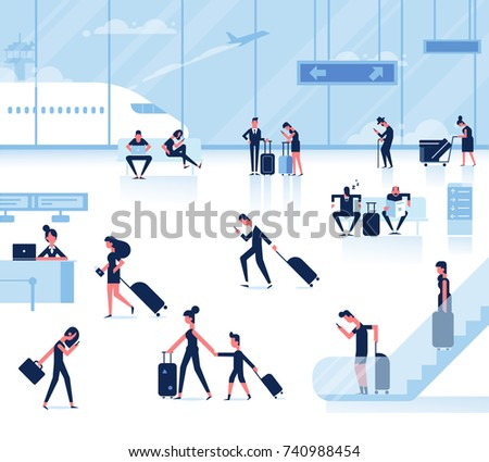 People sitting and walking in airport terminal. Infographics elements. Business travel concept. Flat vector background.