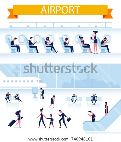People sitting and walking in airport terminal. Passenger sitting aboard. Infographics elements set. Business travel concept. Flat vector illustration.