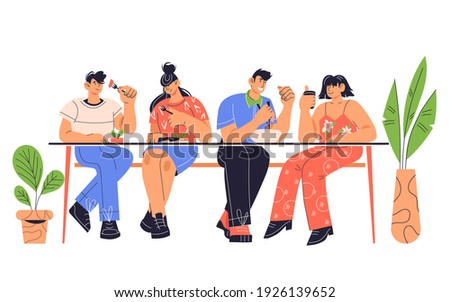 People sitting at table having lunch at restaurant or street food cafe, cartoon flat vector illustration isolated on white background. People eating in fast food cafe.