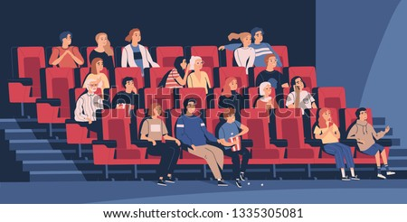 People sitting in chairs at movie theater or cinema auditorium. Young and old men, women and children watching film or motion picture. Viewers or moviegoers. Flat cartoon vector illustration.