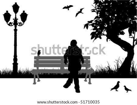 people sitting in the city park - stock vector