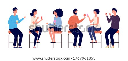 People sitting on bar stools. Friends meeting, man woman drinking cocktails wine. Isolated boy girl in bar or cafe, evening or birthday party vector illustration Photo stock ©
