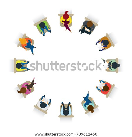 People Sitting on Chairs in Circle Form , Top or Above View, Men and Women