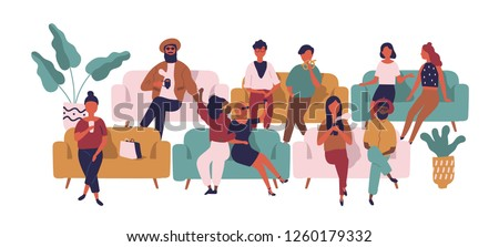 People sitting on sofas in waiting room, hall or area. Funny men and women on couches awaiting movie at cinema isolated on white background. Colorful vector illustration in flat cartoon style.