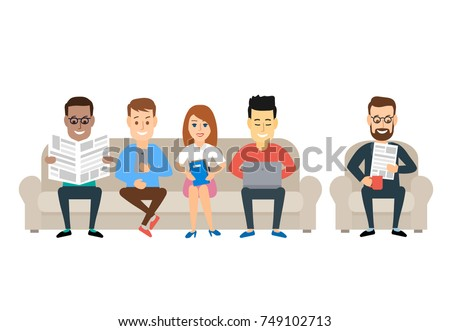 people sitting on the sofa reading newspaper using laptop smart phone