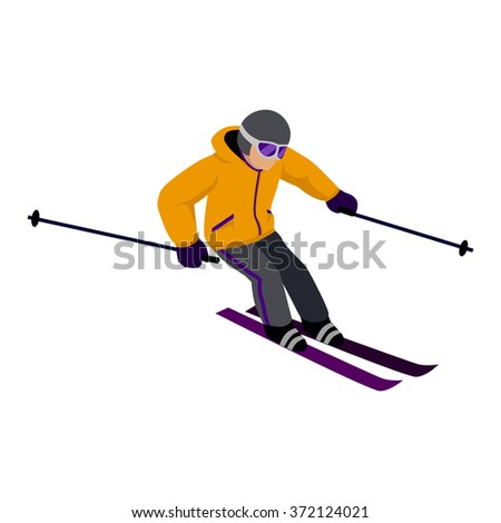 People skiing flat style design. Skis isolated, skier and snow, cross country skiing, winter sport, season and mountain, cold downhill, recreation lifestyle, activity speed extreme illustration