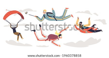 People skydiving with parachute. Group of professional parachutists paragliding. Skydivers team parachuting in free fall. Cartoon flat vector illustration Stock photo ©