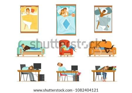 People Sleeping In Different Positions At Home And At Work, Tired Characters Getting To Sleep Set Of Illustrations