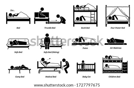 People sleeping on different type of bed. Vector illustration of person sleep on trundle, bunk, four poster, sofa, futon, air mattress and medical bed. Children sleeping on baby cot and double decker.