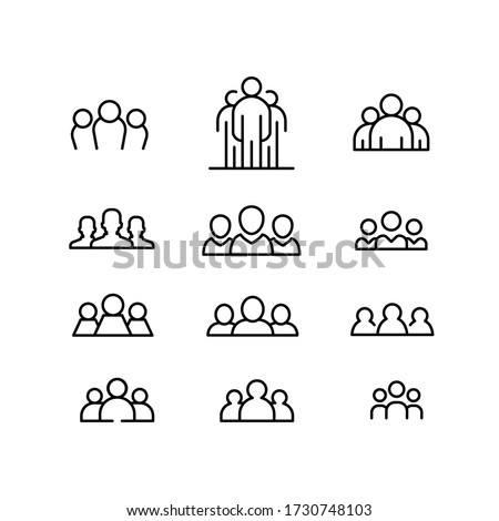 People society club. Human collaboration in teamwork member club for web, design, and business sign. Squad illustration vector line icon set. Vector illustration. Design on white background. EPS 10