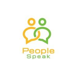 People Speak Bubble Chat Line Art Logo Design Vector
