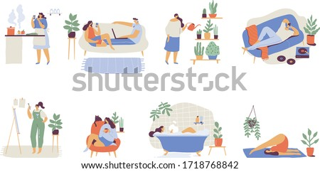 People spending time at home flat  vector illustration. Relaxing at home, leisure time