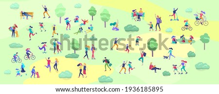 People Spending Time, Relaxing on Nature, family and children performing sports outdoor activities at park, walking dog, doing yoga, riding bicycles, tennis workout. Cartoon vector Foto stock ©