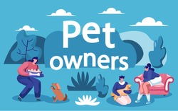 People spending time with loved pets in park. Man and woman playing with cat and dog outdoors. Landscape with trees and bushes. Characters caring for doggy and kitten. Lady feeding canine vector