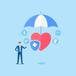 People stand near health insurance contract.Health care concept. Health insurance contract is under the umbrella. vector illustration about health