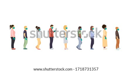 people stand queue. Full length of cartoon sick people in medical masks and gloves standing in line against at a safe distance. flat vector illustration