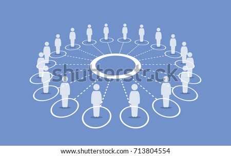 People standing around a circle connecting with each others. Vector artwork depicts multi network, human cooperation, teamwork, group, community, unity, and organization.