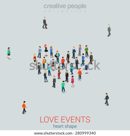 People standing as Heart shape flat isometric 3d style vector illustration.\ Love concept idea. Creative people collection.