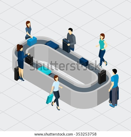 People standing at airport conveyor line with luggage isometric vector illustration