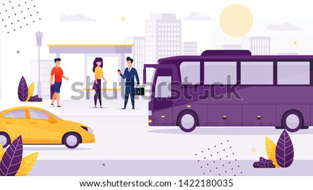 People Standing at Bus Stop Flat Cartoon Vector Illustration. Cartoon Woman and Men Waiting for Public Transport. Transportation around City. Passenger Going to Vehicle. Businessman with Suitcase.