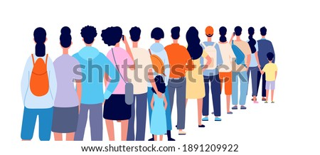 People standing in line. Isolated crowd, queue group back stand. Person wait shopping, airport registration or ticket utter vector concept