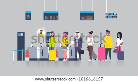 people standing in queue with