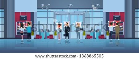people standing line queue to withdrawing money ATM cash machine identification surveillance cctv facial recognition concept business center hall interior security camera system horizontal