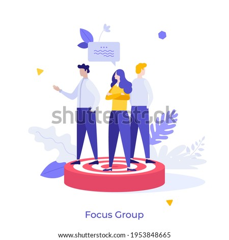 People standing on target. Concept of focus group members, market research participants, public survey for marketing strategy, views or opinions of customers. Flat vector illustration for banner. Foto stock ©