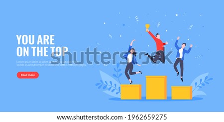 People standing on the podium rank first three places, jumps in the air with trophy cap. Employee recognition and competition award winner business concept flat style design vector illustration.