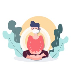 People stay at home wearing mask meditation in shelter place during covid-19 coronavirus outbreak. flat character design abstract people. health care and medical vector.