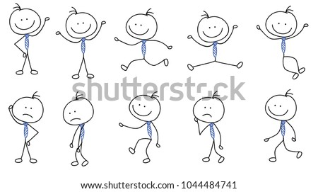 people stickman, stick figure, hand drawn sketches with different pose