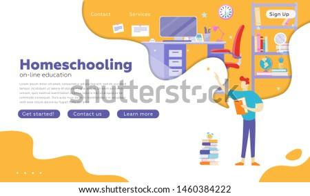 People studying at online school, home interior, student room. Service, literature, study concept. Presentation slide template, landing page. Vector illustration for topics like knowledge, education.