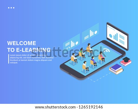 People studying with application and digital learning. Digital Learning Concept. 3d isometric vector illustration. Digital Learning Design Illustration