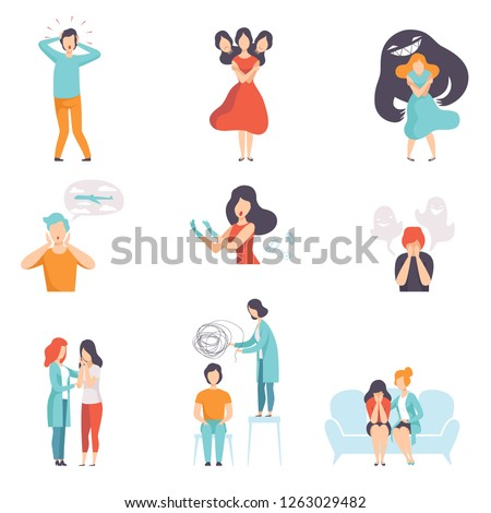 People suffering from mental disorders set, psychotherapists treating patients on behavioral or mental health problems vector Illustration