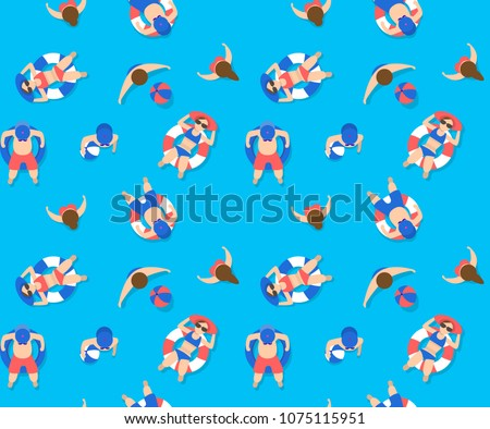 people swimming in pool seamless pattern. summer blue and neon concept. can be use for wallpapaer background, pattern fill, vector illustration