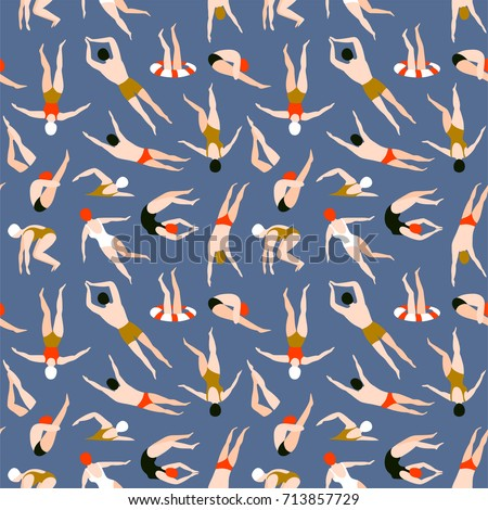 People swimming pattern. Summer seamless background. Summertime vector illustration with swimmers drawing in flat design.