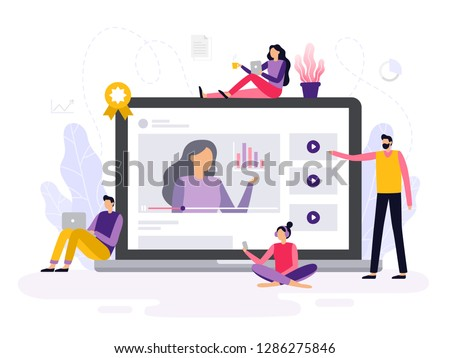 People take an online course, watching a video with infographics and discuss it. Banner or background for a site with a distance education theme. Vector illustration