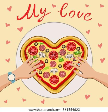 people take pizza heartbeige