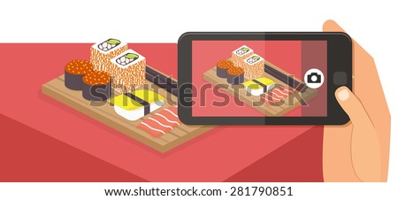People taking picture photo of their food in restaurant with smartphone, selfie shot flat vector illustration banner