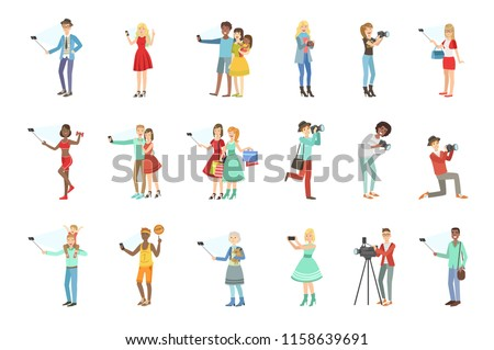 People Taking Picture With Selfie Stick Set Of Illustrations