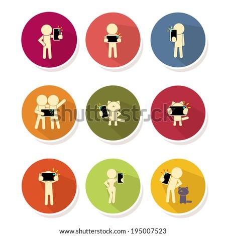 People taking self photo icon - vector illustration