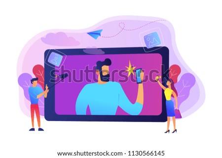 People taking selfie with smartphones and selfie-sticks as a concept of selfie culture, social network, blog, vlog, self-portrait, popularity. Violet palette. Vector illustration on background.