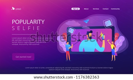 People taking selfie with smartphones and selfie-sticks as a concept of selfie culture, social network, blog, vlog, self-portrait, popularity. Violet palette. Website landing web page template.