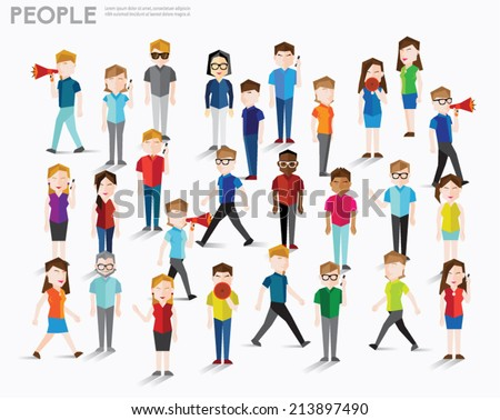 People talk and gather together vector design