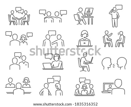 People talk, negotiation, speech thin line icons set isolated on white. Discussion, meeting, chat outline pictograms collection. Debate, controversy, gossip vector elements for infographic, web. ストックフォト ©