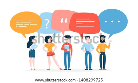 People talk using speech bubble. Group of business people speak and chatting. Communication with person. Isolated flat vector illustration Stock photo ©