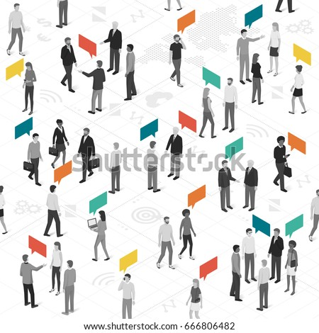 People talking and sharing different ideas: social networks, communication and marketing concept