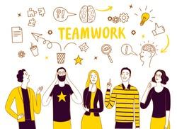 People talking and thinking together. Including doodle elements. Brainstorm and teamwork doodle illustration for your design.