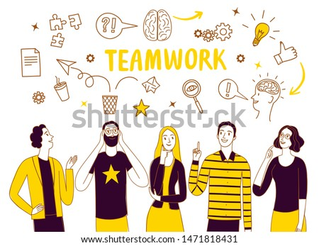 People talking and thinking together. Including doodle elements. Brainstorm and teamwork doodle illustration for your design.