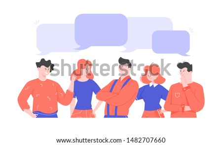 People talking, group of young man and woman, discussion, cartoon character, businessmen discuss social network, discussion of news, social networks, chat, flat vector illustration